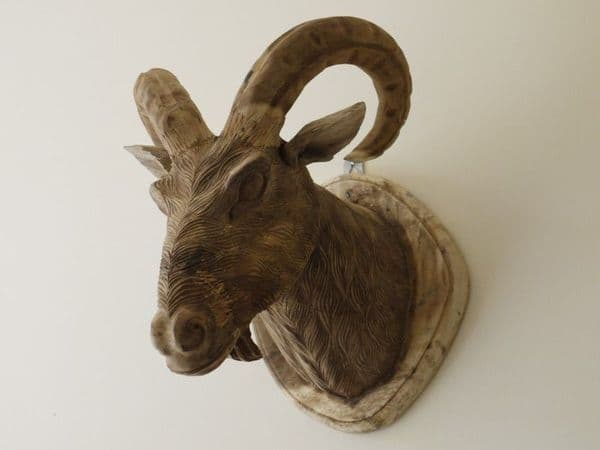 Hand Carved Walll Mountable Goat Head